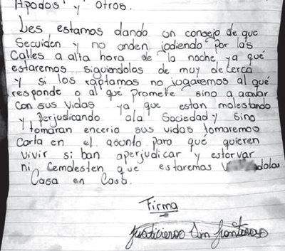 """Reaparecen los """"Justicieros sin Frontera"""" en Pedro Juan"""
