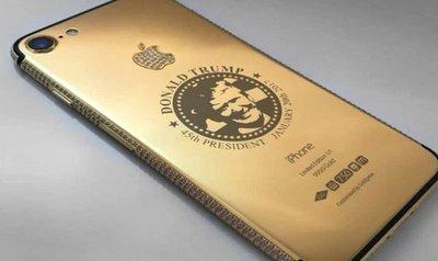 El Iphone de oro y diamantes con el sello Donald Trump