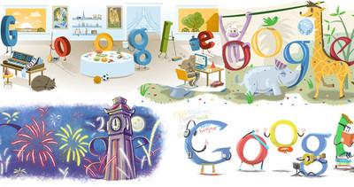Todos los doodles de Google para celebrar año nuevo, desde el 2000 hasta el 2017