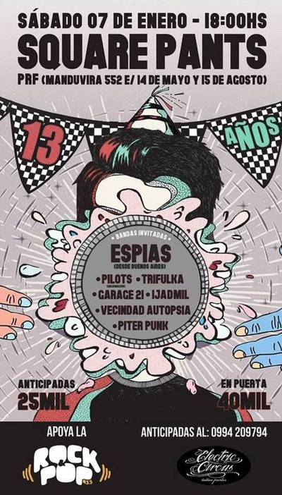 Square Pant invita este sábado a gran festival de punk
