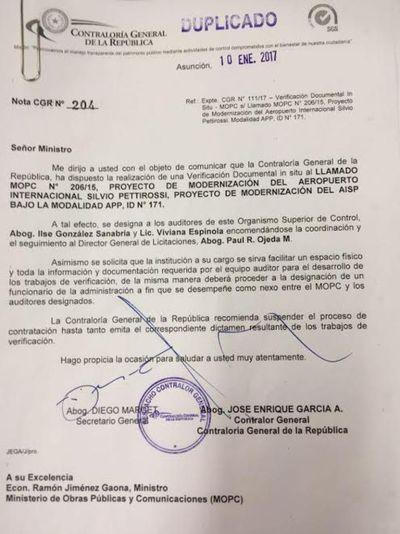 Aeropuerto: La Contraloría pide suspender licitación ante avalancha de irregularidades