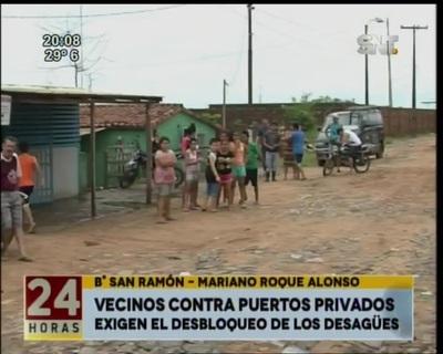 Vecinos de Mariano Roque Alonso se manifiestan contra puertos privados