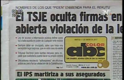 Titulares de los diarios: TSJE oculta firmas en abierta violación de la ley