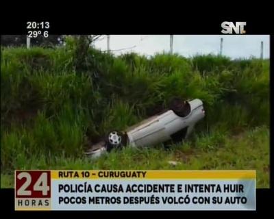 Un policía huyó tras causar un accidente y terminó volcándose