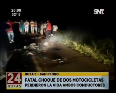 Dos motociclistas protagonizaron fatal choque en San Pedro