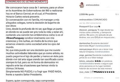 Andrea Valobra Y Su Determinante Decisión, Demostrando Repudio A Lo Ocurrido En El País