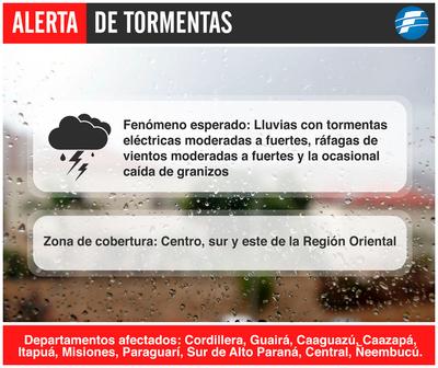 10 departamentos bajo alerta de tormentas
