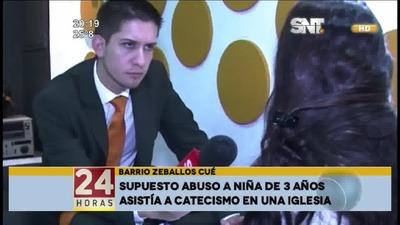 Mujer denunció que su hija de tres años fue abusada en iglesia de Zeballos Cué