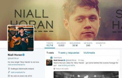 Niall Horan supera los 30 millones de seguidores en Twitter