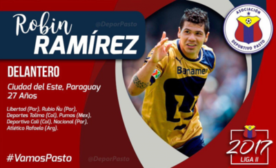 Robin Ramírez, nuevo futbolista del Pasto
