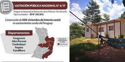 SENAVITAT ABRIRÁ OFERTAS PARA CONSTRUCCIÓN DE 650 VIVIENDAS EN ZONAS RURALES
