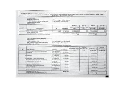Gráficos señalan irregularidades en licitación del TSJE para boletines
