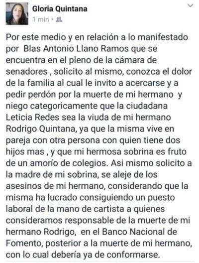 Hermana de Rodrigo reaccionó contra Llano