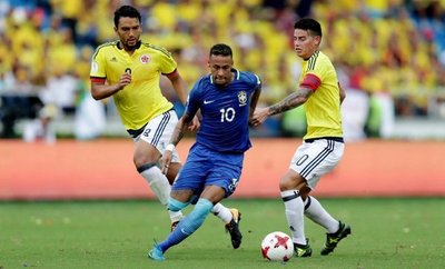 Colombia reaccionó y empató a Brasil