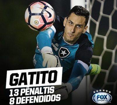 """""""Gatito"""", ocho penales atajados en Botafogo"""