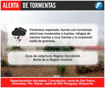 Alerta de tormentas para 6 departamentos