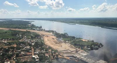 Crecida del río Paraguay no detiene obras en la Costanera ll