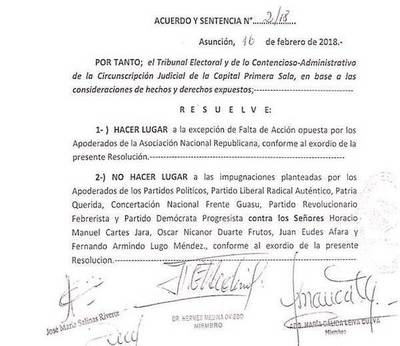 Rechazan impugnaciones contra candidaturas de Nicanor, Cartes, Afara y Lugo