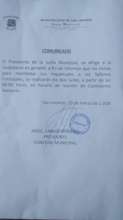 Concejales de San Lorenzo sólo atienden reclamos ciudadanos los días lunes