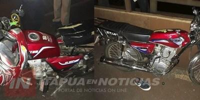 MOTOCICLETA COLISIONÓ A OTRA SOBRE EL PUENTE QUITERIA.