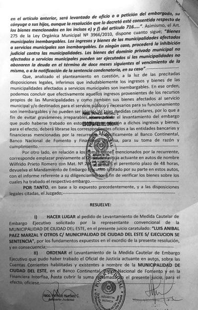 Tentáculos de Zacarías en la Justicia frena embargo de bienes de la Municipalidad