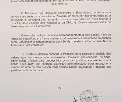 Embajada palestina en Brasil condena  en duros términos decisión de Paraguay