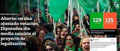 Diputados argentinos aprobaron la despenalización del aborto
