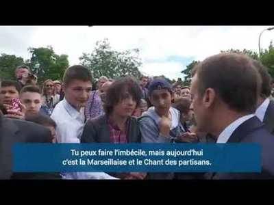 Lección de civismo de Macron a estudiante revolucionario