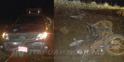 MOTOCICLISTA FALLECE EN CHOQUE FRONTAL EN CAMINO VECINAL DE OBLIGADO.
