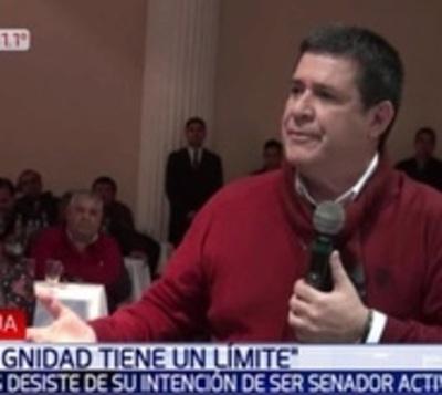 """""""La dignidad tiene un límite"""", dice Cartes y desiste de ser senador"""