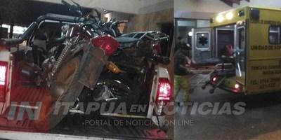 GRAVE ACCIDENTE EN CARRERA CLANDESTINA DE MOTOCICLETAS EN MARÍA AUXILIADORA.