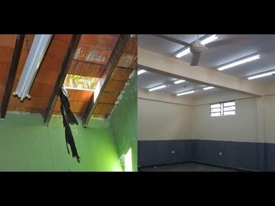 El antes y el después de una escuela que estaba cayendo a pedazos.