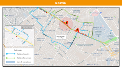 Siguen obras del metrobús y hay más cierres sobre la Ruta Mariscal Estigarribia