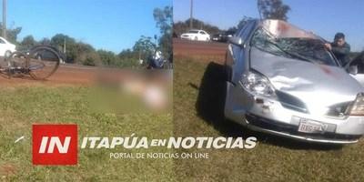 AHORA: VIOLENTO CHOQUE DEJA UN CICLISTA FALLECIDO EN EDELIRA 28.