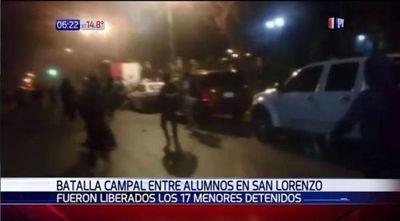 Batalla campal entre alumnos de colegios de San Lorenzo