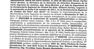 CSJ dispuso sumario y suspende matrícula del abogado Paraguayo Cubas