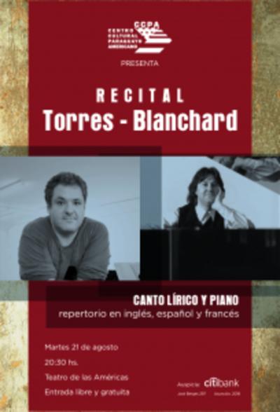 Invitan a concierto de canto lírico y piano en el CCPA
