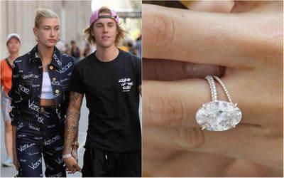 Hailey Baldwin presume su mega diamante de compromiso