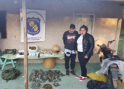 Hallan marihuana y armas en Horqueta