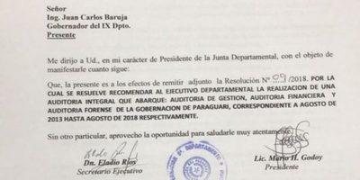 Concejales de Paraguarí piden auditoría del gobierno de Miguel Cuevas y Oscar Velaztiquí