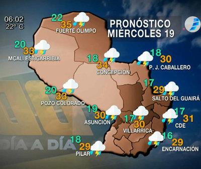 Mitad de semana con precipitaciones y tormentas eléctricas moderadas
