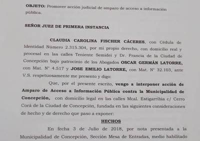 Periodista presenta amparo contra Municipalidad de Concepción