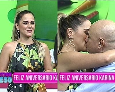 """Karina y Domingo celebraron a los besos su aniversario: """"Sos mi plata yvyguy"""""""