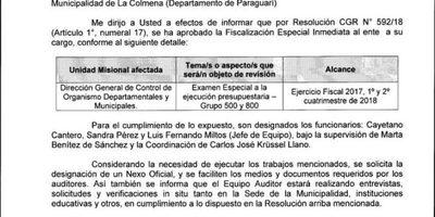 Auditoría y posible intervención en Municipalidad de La Colmena