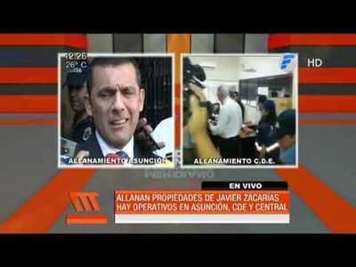 Fiscalía allana propiedades de Javier Zacarias Irún