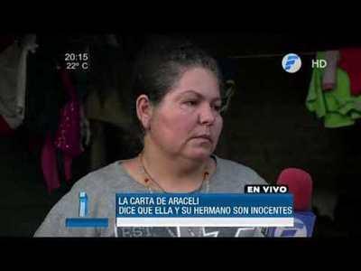 """Carta de Araceli Sosa: """"Mi hermano y yo somos inocentes"""""""