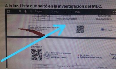 Blanca Vargas de Caballero en lista de planilleros confirmada por el MEC