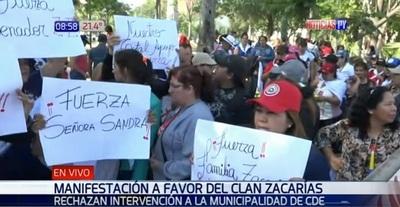 Manifestantes apoyan a clan Zacarías y rechazan intervención de municipalidad