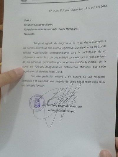 Intendente pide autorización para realizar préstamo de 700 millones