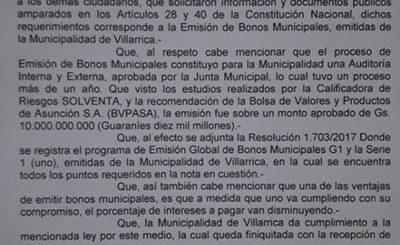 Cuestionan al intendente por remitir solo la copia de una resolución sobre bonos municipales
